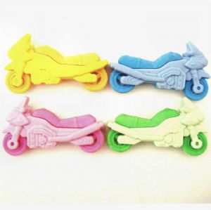 Motorbike - Novelty 3D Erasers Rubbers PINK BLUE GREEN or YELLOW